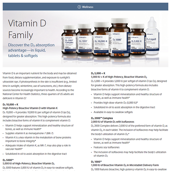 Vitamin D Family Formula Focus Sheet